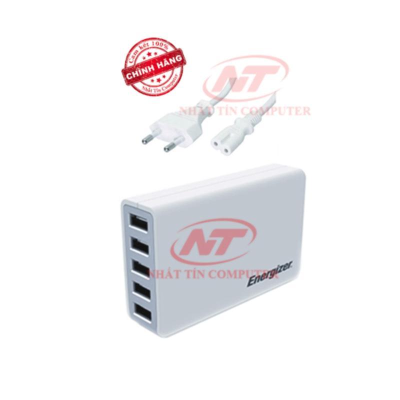 Cốc sạc Energizer 5A 25W CL 5 cổng USB (Trắng) - Hãng phân phối chính thức