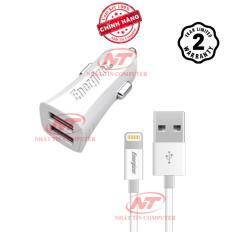 Cốc Sạc Ô tô Energizer UL 3.4A 2 USB + 1 Cáp Lightning (Trắng) - Hãng phân phối chính thức