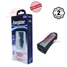 Cốc Sạc Ô tô Energizer UL 4.8A 2 USB (Đen) - Hãng phân phối chính thức