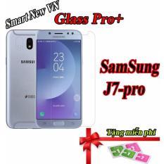 Combo 2 Kính cường lực Samsung Galaxy J7 Pro Full màn hình 2.5D tặng kèm miếng lau màn hình
