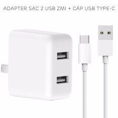 Combo adapter 2 USB ZMi Quick Charge 3.0 và cáp USB Type-C dài 1 mét (HA622)