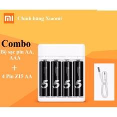 Combo Bộ Sạc Pin AA,AAA Xiaomi PB401 + Hộp 4 Pin AA Xiaomi Zi5 Sạc được Nhiều Lần (Hàng Nhập Khẩu) Đang Khuyến Mãi