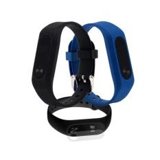 Combo dây đeo thay thế Miband 2 dạng sần (Đen + Xanh) + 2 Miếng Dán Màn hình Miband 2