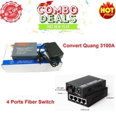 Hình ảnh convert quang single mode 10/100Mbs HTB-3100A + 4 Ports Fiber Switch