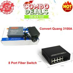 Hình ảnh convert quang single mode 10/100Mbs HTB-3100A + 8 Ports Fiber Switch