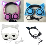 Creative Personality Cat Ears Headset Foldable Flashing Headphones For PC Mobile - intl