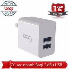 Củ sạc nhanh Bagi 2 USB - chíp BGPower chính hãng