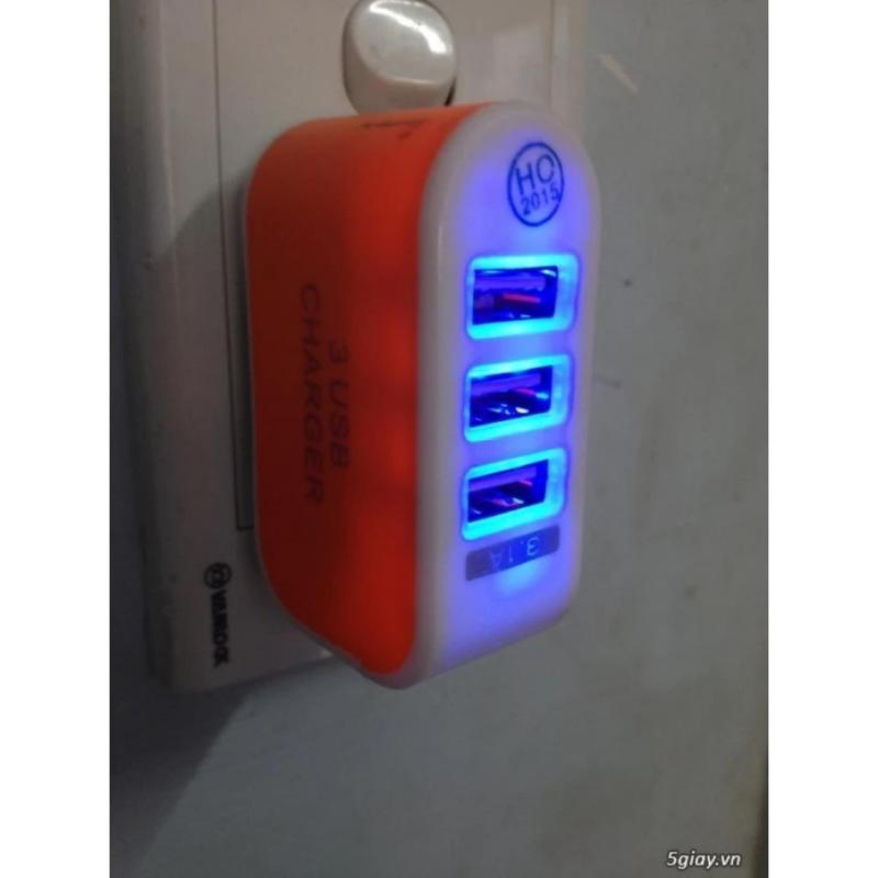 Cục sạc 3 cổng USB cao cấp PGH (Xanh lá)