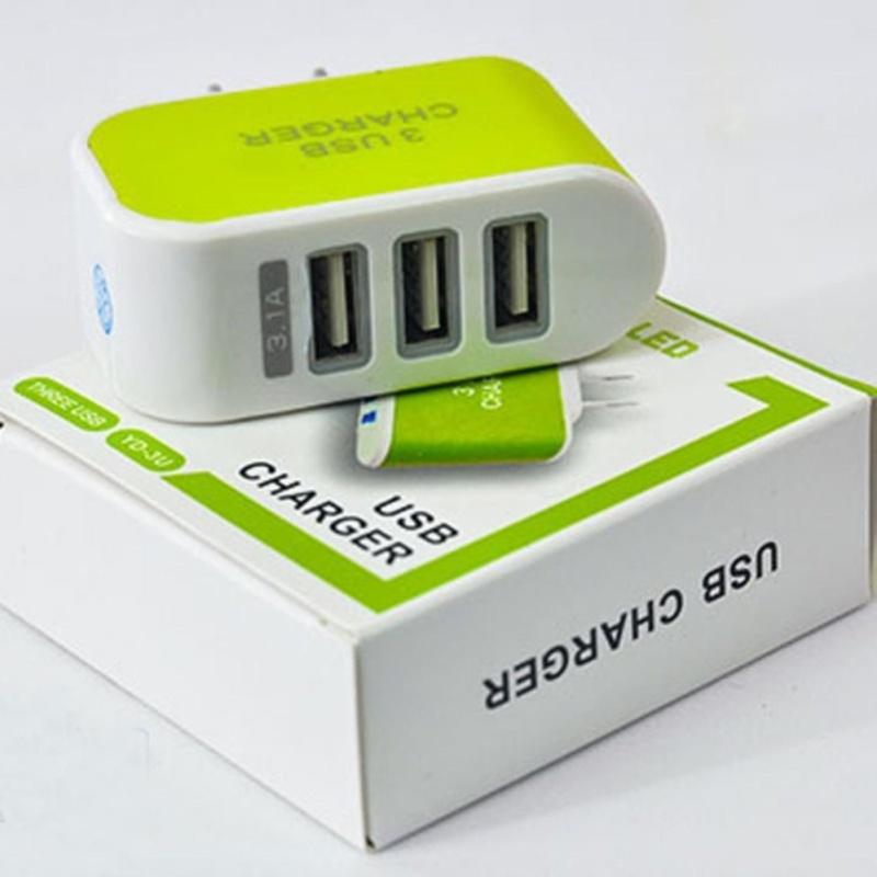 Cục sạc 3 cổng USB PGH 02 (Xanh lá) (Xanh lá neon)