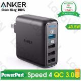 Mã Khuyến Mại Cục Sạc Anker Powerport Speed 4 Cổng 43 5W Quick Charge 3 A2040111 Rẻ