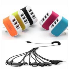 Cục sạc điện thoại đa năng KZD 3 cổng USB +cáp sạc 10 đầu