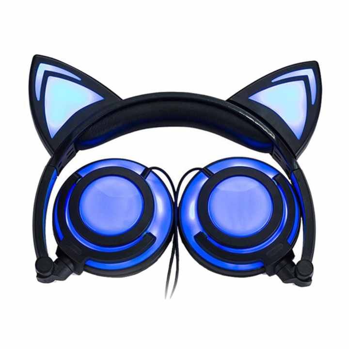 Cute Folding Cat Ear Headphones Earphone Headset Glowing Lights with USB Charging Cable for Most Smartphones Tablet Laptop Black - intl