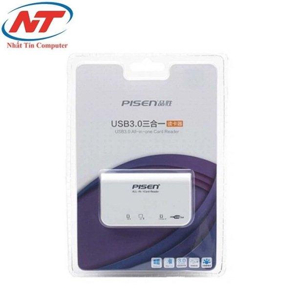 Đầu đọc thẻ đa năng Pisen TS-E081 All-in-one USB 3.0 - 3Slot (Trắng)