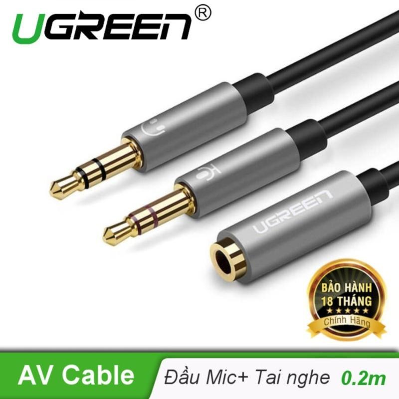 Dây Audio chuyển tai nghe 3.5mm đầu cái sang 2 đầu Mic và Tai nghe đầu đực mạ vàng dài 20CM UGREEN AV140 20899 - Hãng phân phối chính thức
