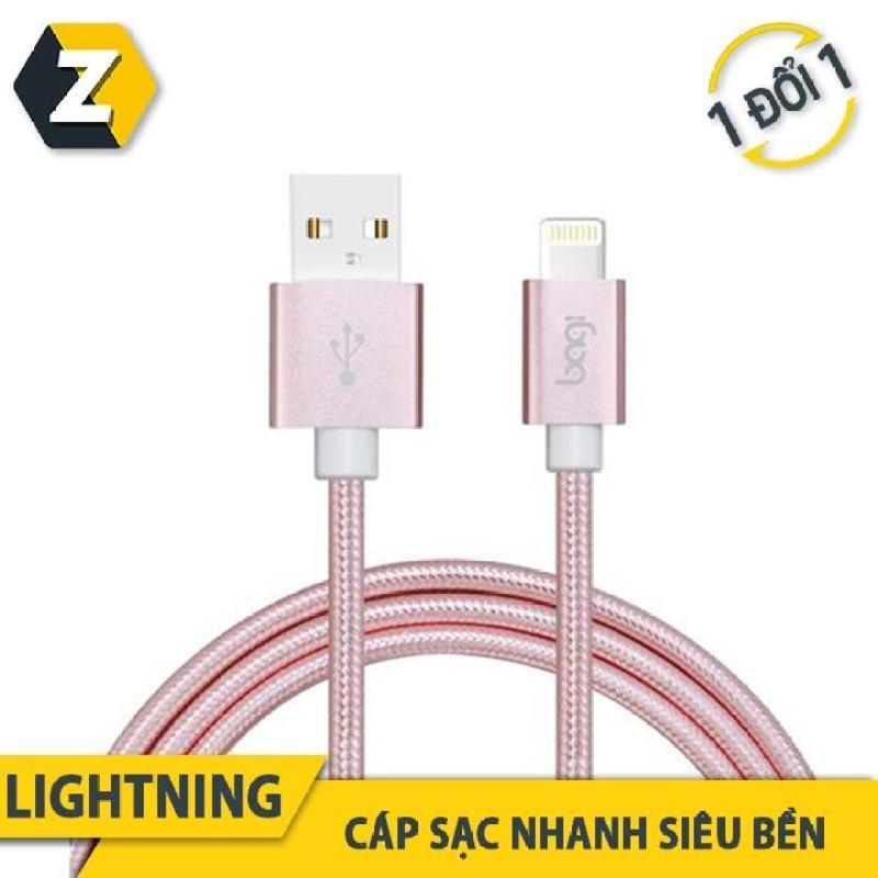 Dây dù sạc nhanh Lightning Bagi CB-IS10 PINK cho iPhone, iPad, iPod