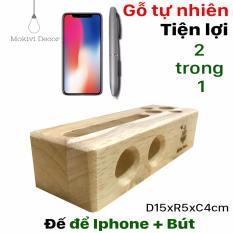 Hình ảnh ĐẾ GỖ IPHONE, smartphone (Tự nhiên) KIÊM ĐỰNG VIẾT, đế gỗ tiện ích trên bàn làm việc.