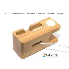 Hình ảnh Dock sạc để bàn bằng gỗ tre cho Apple Watch