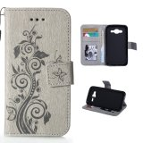 Cửa Hàng Bán Embossing Flower Leather Case Flip Stand Cover For Samsung Galaxy J5 2015 Grey