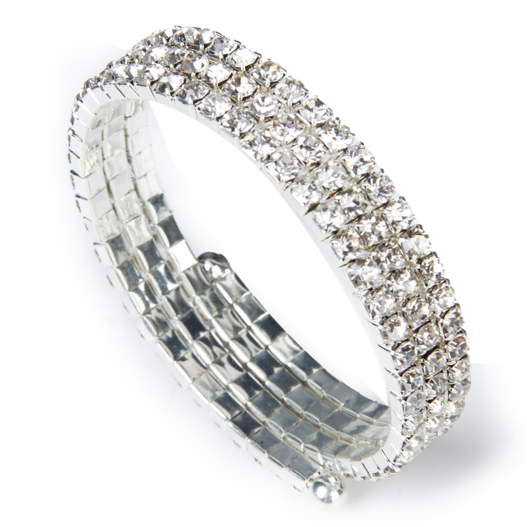 Fashion Wedding Bridal Clear Crystal Rhinestone 3 Rows Stretch Elastic Bangle Bracelet - Intl Đang Ưu ...