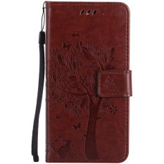 Bán Mua Flip Stand Case Embossed Tree Pu Leather Slim Fit Protective Shockproof Tpu Inner Bumper Card Slots Hand Strap For Nokia Lumia 950 Intl