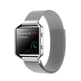 For Fitbit Blaze Watch Loop Magnetic Closure Clasp Stainless Steel Watchband(Silver) - intl