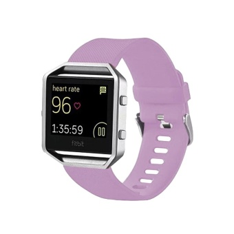 For Fitbit Blaze Watch Oblique Texture Silicone Watchband, Large Size, Length: 17-20cm (Light Purple) - intl