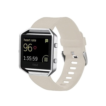 For Fitbit Blaze Watch Oblique Texture Silicone Watchband, Large Size, Length: 17-20cm(Beige) - intl