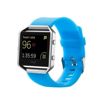For Fitbit Blaze Watch Oblique Texture Silicone Watchband, Large Size, Length: 17-20cm(Blue) - intl