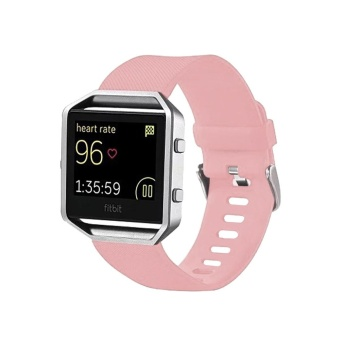For Fitbit Blaze Watch Oblique Texture Silicone Watchband, Large Size, Length: 17-20cm(Pink) - intl