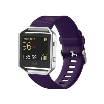 For Fitbit Blaze Watch Oblique Texture Silicone Watchband, Large Size, Length: 17-20cm(Purple) - intl