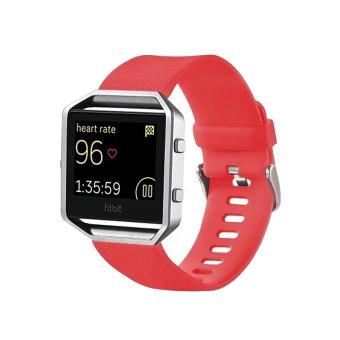 For Fitbit Blaze Watch Oblique Texture Silicone Watchband, Large Size, Length: 17-20cm(Red) - intl