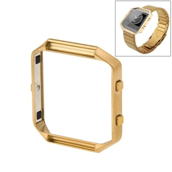 For Fitbit Blaze Watch Stainless Steel Frame Holder Shell(Gold) - intl