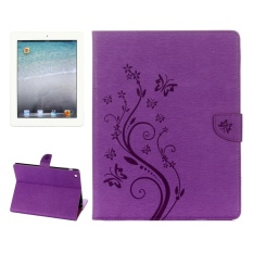 Hình ảnh For IPad 4 Pressed Flowers Butterfly Pattern Horizontal Flip PU Leather Case With Magnetic Buckle and Holder and Card Slots and Wallet(Purple) - intl