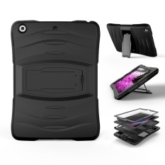Hình ảnh For iPad 9.7-inch (2017) Rugged Impact Resistant Kickstand PC + Silicone Protector Case - Black