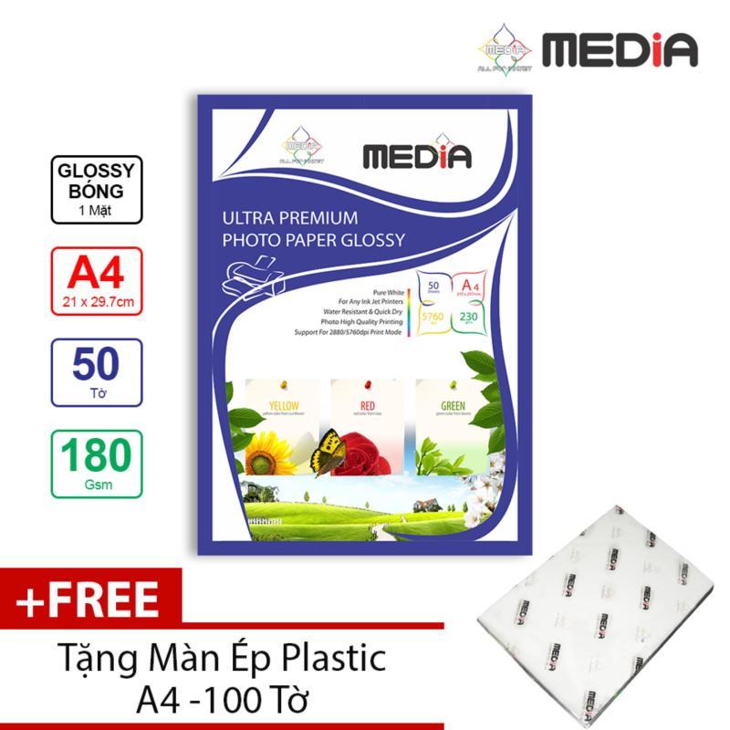 Giấy In Ảnh Media 1 Mặt Bóng (Glossy) A4 (21 x 29.7cm) 180gsm 50 tờ + Tặng Màn Ép Plastic 100 Tờ