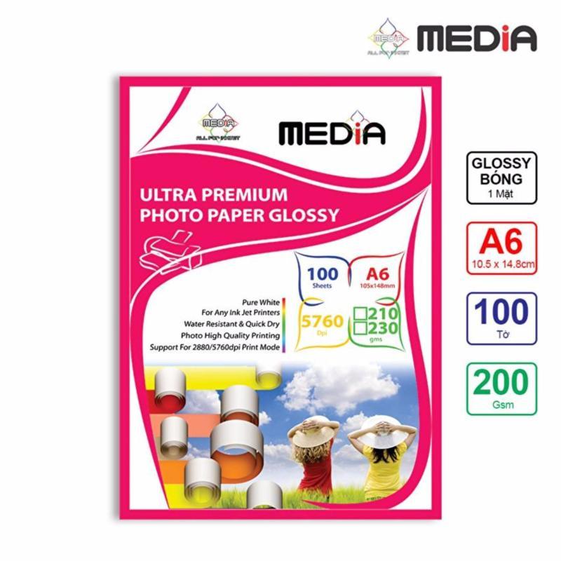 Giấy In Ảnh Media 1 Mặt Bóng (Glossy) A6 (10.5 x 14.8cm) 200gsm 100 Tờ - Hàng Nhập Khẩu