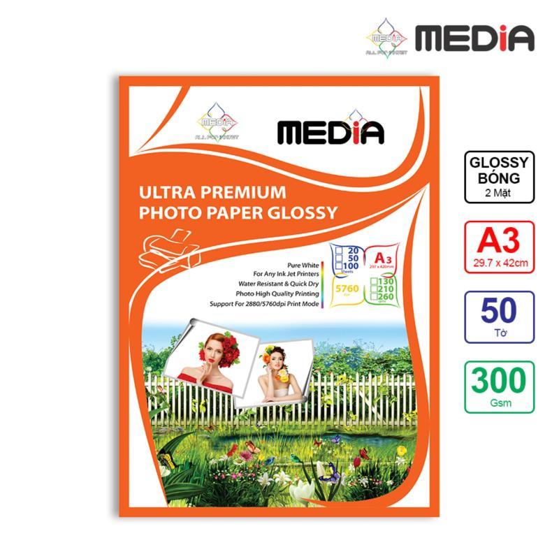 Giấy In Ảnh Media 2 Mặt Bóng (Glossy) A3 (29.7 x 42cm) 300gsm 50 Tờ - Hàng Nhập Khẩu