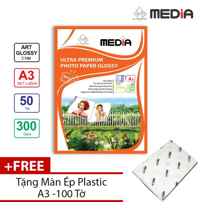 Giấy In Ảnh Media 2 Mặt Bóng Sọc (Art Glossy) A3 (29.7 x 42cm) 300gsm 50 tờ + Tặng Màn Ép Plastic 100 Tờ