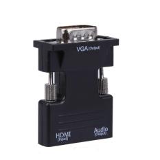 Hình ảnh Bộ Chuyển Đổi HDMI Đầu Cái Sang VGA Đầu Đực With Adapter Âm Thanh Support Tín Hiệu 1080 p (Đen) -Quốc Tế