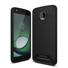 Bán Mua Trực Tuyến Hicase Carbon Fiber Drop Protection Anti Scratch Slim Soft Tpu Back Cover For Motorola Moto Z Play Black Intl