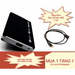 Hộp đựng ổ cứng Laptop HDD Box 2.5 inch SATA USB 2.0 + Tặng kèm dây nối dài USB 2.0 chất lượng cao 1.5m + Túi da đựng HDD box thumbnail
