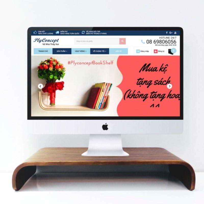 Bảng giá Kệ đỡ màn hình máy tính Plyconcept Monitor Stand uốn - Gỗ Walnut uốn cong Phong Vũ