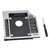 Khay nâng cấp/lắp thêm ổ cứng cho Laptop qua khe lắp CD/DVD 12.7mm (Caddy HDD/SSD SATA) (Đen bạc)