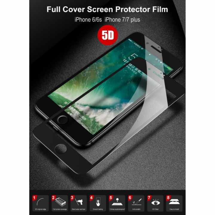 Kính Cường Lực cho iPhone 7 Plus 5D Full Màn Đen (Nguyên Hộp)