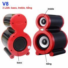 Loa vi tính siêu trầm 3 loa Tiếng, Treble, Bass – V8