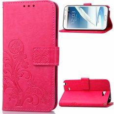 Cửa Hàng Cỏ Bốn La May Mắn Với Đong Từ Da Pu Danh Cho Samsung Galaxy Note 2 N7100 Hồng Đậm Intl Trung Quốc