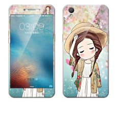 Luxury 3D Painting Front+Back Full Case Cover Color Tempered Glass Case For OPPO A37