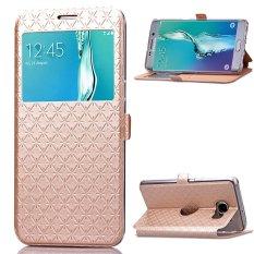 Chiết Khấu Sản Phẩm Sang Trọng Hinh Thoi Nam Cham Da Pu Flip View Cửa Sổ Da Ốp Lưng Danh Cho Samsung Galaxy Samsung Galaxy S6 Edge 5 7 S6 Edge Plus Vang Quốc Tế