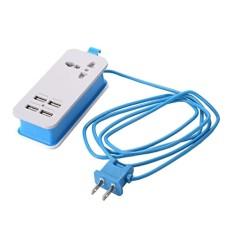Hình ảnh MagiDeal Mini Nguồn USB Dây Sạc USB 4 Cổng Ga Du Lịch Sạc HOA KỲ Cắm Xanh Dương-quốc tế
