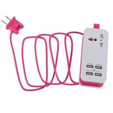 Hình ảnh MagiDeal Mini Nguồn USB Dây Sạc USB 4 Cổng Ga Du Lịch Sạc Phích Cắm US-Màu Hồng-intl